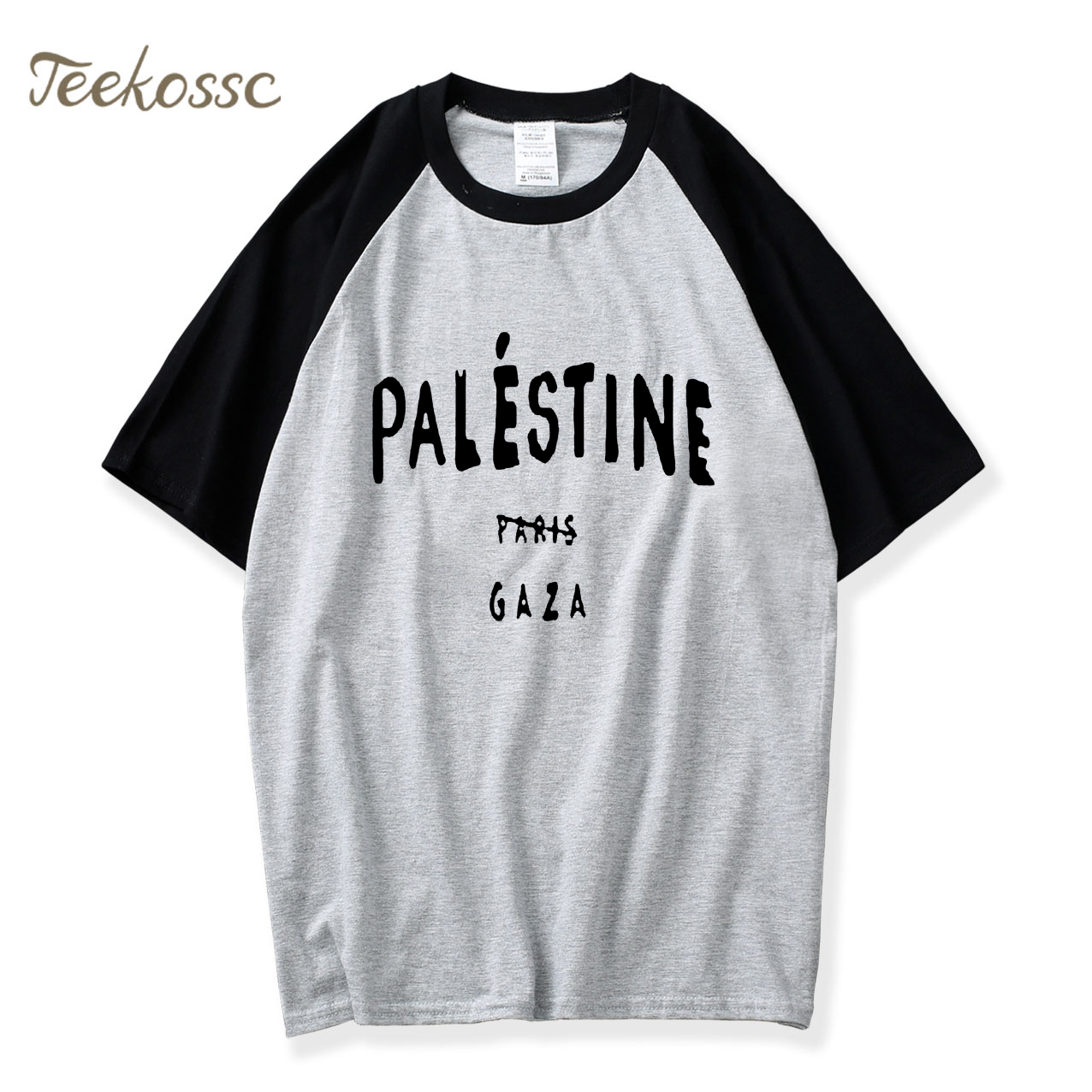 Funny Gaza Palestine Paris 5sos Design T shirts 2018 New Summer Raglan Sleeve T-shirt Men 100% Cotton Men's Camiseta Basic Tees