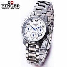 Люксовый Бренд Бингер новый стиль часы круглые способа нержавеющей стали наручные часы для женщин автоматические часы tourbillon 1853