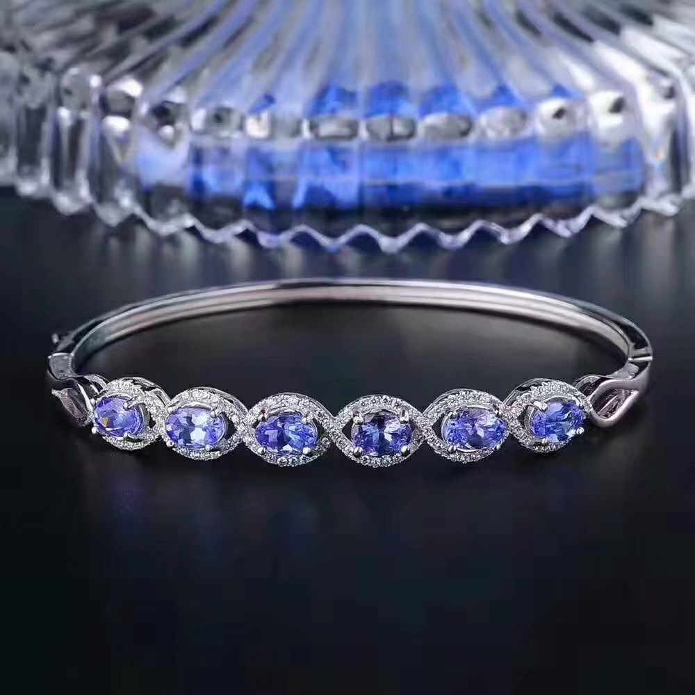 LANZYO 925 Sterling Silver blue tanzanite Bangles trendy natural jewelry simple style open Bangles fine wholesale sz0406agts LANZYO 925 Sterling Silver blue tanzanite Bangles trendy natural jewelry simple style open Bangles fine wholesale sz0406agts