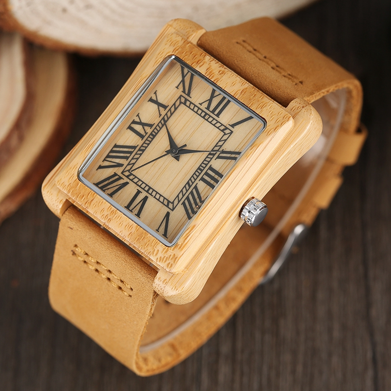 Rectangle Dial Wooden Watches for Men Natural Wood Bamboo Analog Display Genuine Leather Band Quartz Clocks Male Christmas Gifts 2020 2019 (49)