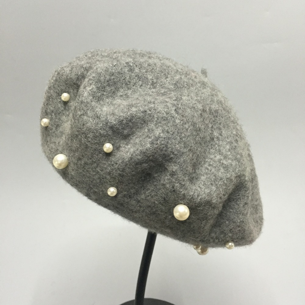 Baby Girls Pearl Beret Hats Toddler Beanie Hat Solid Color Warm French Pearls Beaded Wool Beret Cap Beige