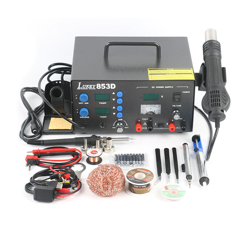 3 in 1 Lukey 853D Soldering Station 220V Electric Soldering Iron Hot Air Gun 15V 2A DC Power Supply For Repairing Phone PCB IC
