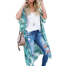 Zexxxy ladies clothing comfortable casual Summer 1/2 Raglan Sleeve Open Front Belt Decorated Chiffon Coat