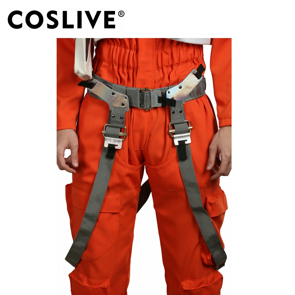 Coslive Star Wars The Force Awakens Cosplay Poe Dameron Belt Brown PU With Gun Holster Halloween Poe DameronCosplay Costume Prop