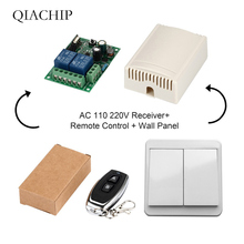 цена на QIACHIP 433mhz Universal Wireless Remote Control Switch AC 250V 110V 220V Relay Receiver Module &   Wall Switch & Remote Control