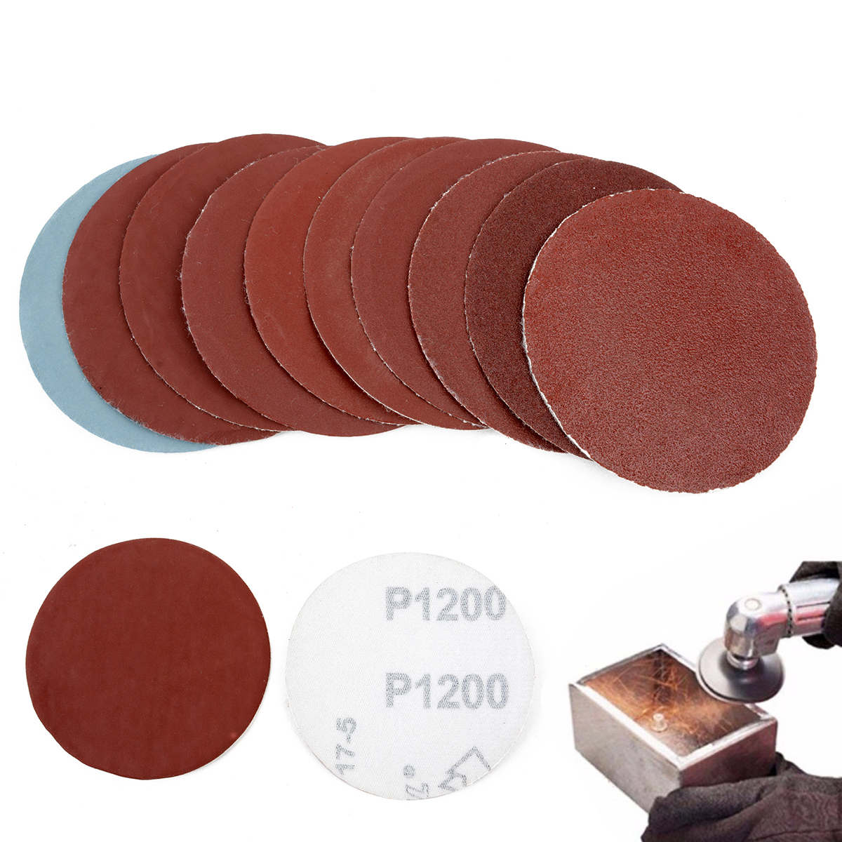100pcs 3inch 75mm Sanding Discs Round Polishing Pad Sandpaper Sheets Mayitr For Abrasive Tools