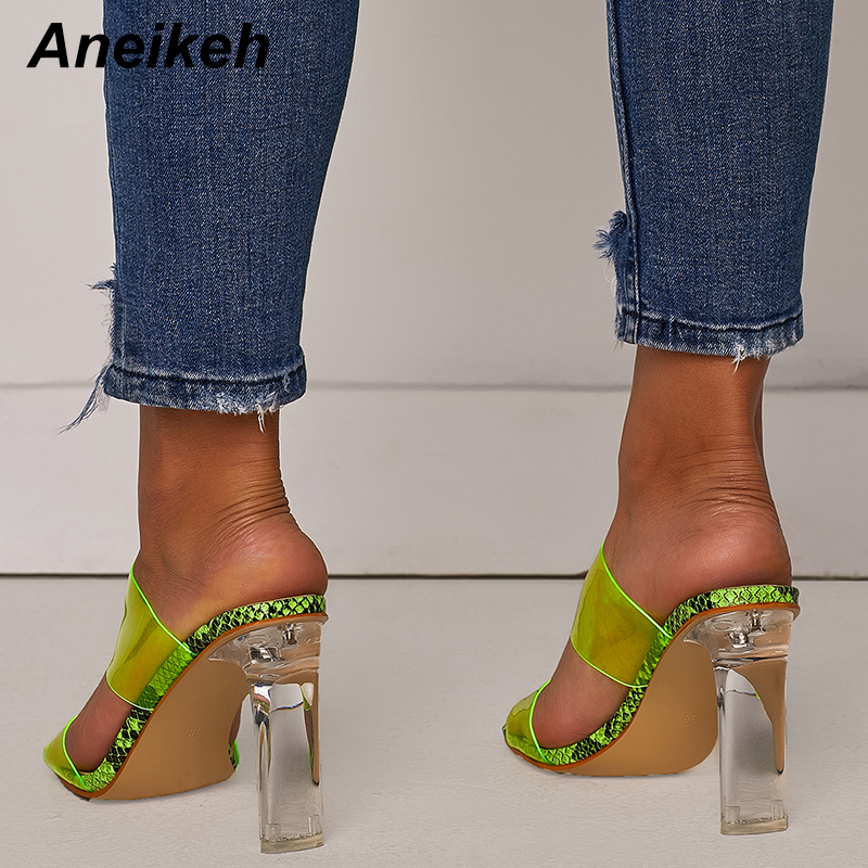 Aneikeh 2019 Snakelike Sandals Crystal Open Toed High Heels Women Transparent Heel Sandals Slippers Pumps 11CM Aneikeh 2019 Snakelike Sandals Crystal Open Toed High Heels Women Transparent Heel Sandals Slippers Pumps 11CM Big Size 41 42