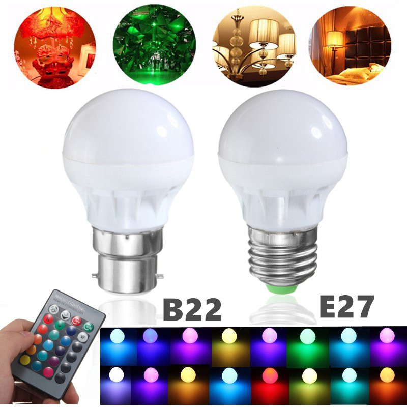 RGB LED Light Bulb E27 B22 3W 16 Colors Changing Magic Lamp Spotlight Bulb with IR Remote Control Holiday Lighting Decor 85-265V agm rgb led bulb lamp night light 3w 10w e27 luminaria dimmer 16 colors changeable 24 keys remote for home holiday decoration