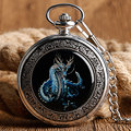 Vintage Steampunk Fob Mechanical Pocket Watch Evil Dragon Wind Up Stylish Cool Fashion Necklace Pendant Unisex Christmas Gift