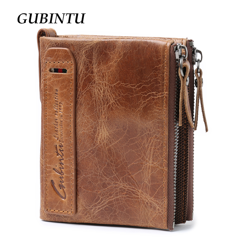 GUBINTU Genuine Crazy Horse Leather Men Wallet Short Coin Purse Small Vintage Wallets Brand High Quality Designer carteira baellerry small mens wallets vintage dull polish short dollar price male cards purse mini leather men wallet carteira masculina
