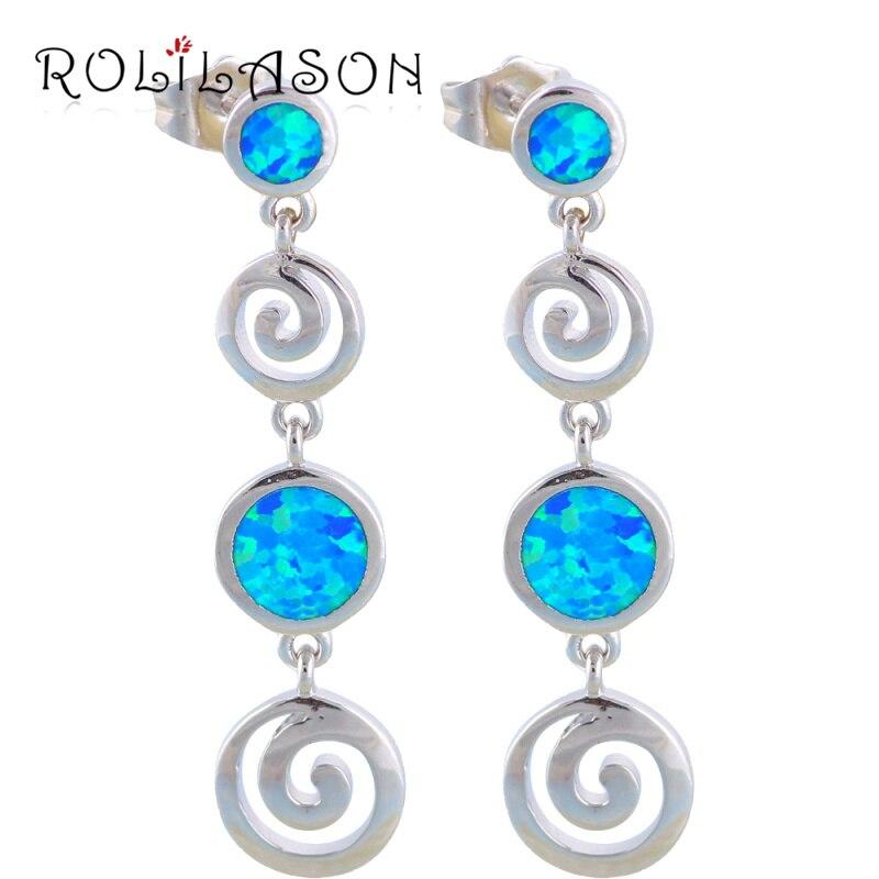 Desinger Round style Huge Wholesale & Retail Blue Fire Opal Silver Drop Earrings Fashion Jewelry OE113