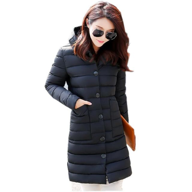 Winter Women Down jacket New Fashion Hooded Single-breasted Thick Warm Medium long Coat Pure color Slim Big yards Parkas NZ299