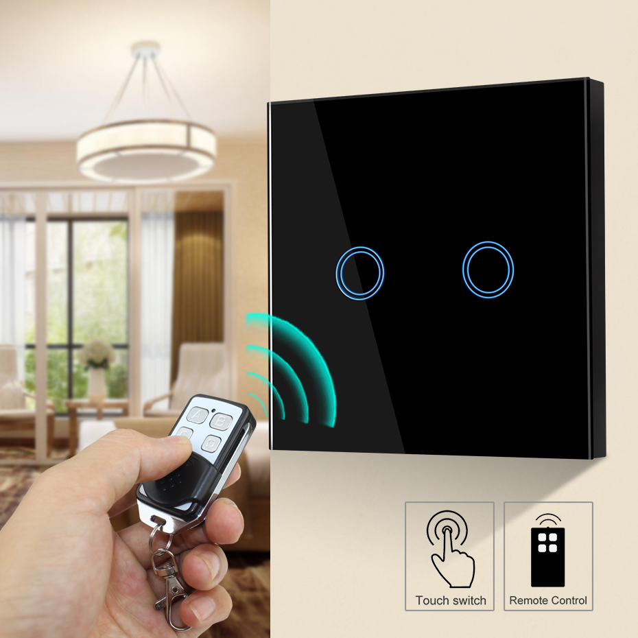 1/2/3 Gang LED Touch Switch 220V EU/UK Standard Sensor Wireless Remote Control Wall Lamp Switch Tempered Glass Panel 433MHz