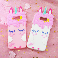 3D Cartoon Cute Pink Unicorn Soft Silicone Case for Samsung Galaxy A6 A8 J4 J6 2018 A5 2016 J3 J5 J7 2017 S8 S9 Plus S7 Edge S6(China)