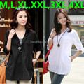 M,L,XL,XXL,3XL,4XL White,Black,Blue 2016 new casual plus size shirt for women long woman blouse big size lady clothes tunic top
