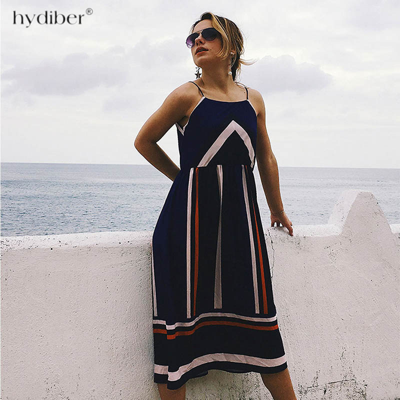 <font><b>Casual</b></font> <font><b>Striped</b></font> <font><b>Beach</b></font> <font><b>Dress</b></font> <font><b>Women</b></font> <font><b>Sexy</b></font> <font><b>Sleeveless</b></font> Spaghetti Strap Midi A Line Summer Party <font><b>Dress</b></font> 2018 Sundress <font><b>dress</b></font> image