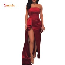 Burgundy Satin Prom Dresses Strapless High Leg Slit Evening Party Black Girls Gowns Simple D570