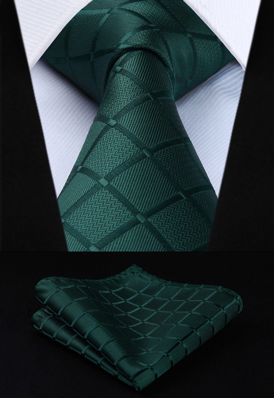 TC442G8S Green Plaids Checks 3.4 Silk Woven Men Tie Necktie Handkerchief Set