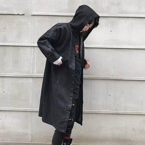 Мужской Повседневный плащ-кардиган, ковбойский Тренч, Мужская Уличная мода, повседневный джинсовый Тренч с капюшоном в стиле хип-хоп