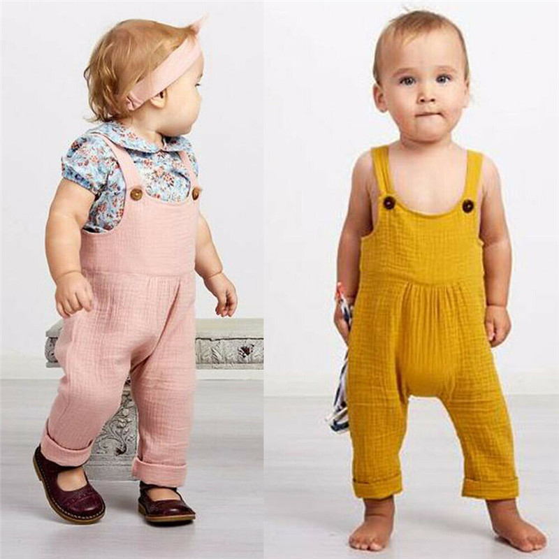 PUDCOCO Lovely Newborn Kids Baby Boy Girl Solid Sleeveless   Romper   Overalls Summer Casual Clothes Fashion Jumpsuit Outfits 0-3T