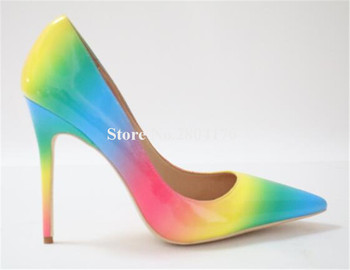 Newest Women Pointed Toe Patent Leather Beautiful Rainbow Stripe Pointed Toe Pumps 10cm 12cm Mixed-colored Gradient High Heels