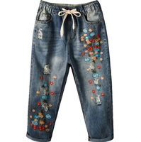 2018 Jeans Woman Women Mini Flower Embroidered With Drawstring Mid calf Length Folk Style Loose Jeans Distressed Denim Pants