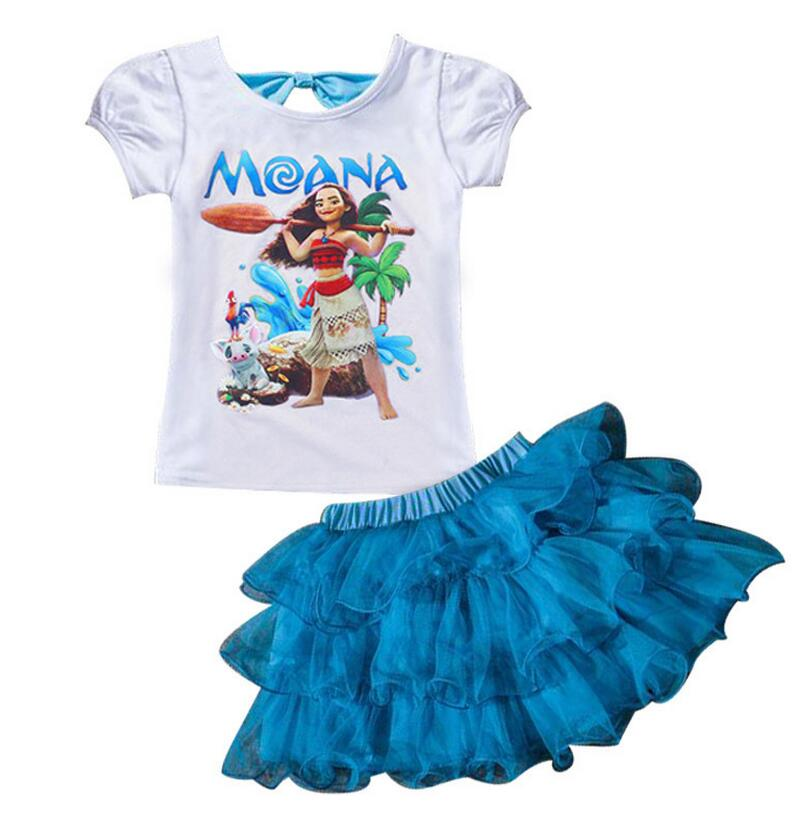 new 2017 summer baby girl Ocean princess party dresses for girl cartoon Moana dress for kids 2-8 girl clothes T-shirt+ball gown summer 2017 new girl dress baby princess dresses flower girls dresses for party and wedding kids children clothing 4 6 8 10 year