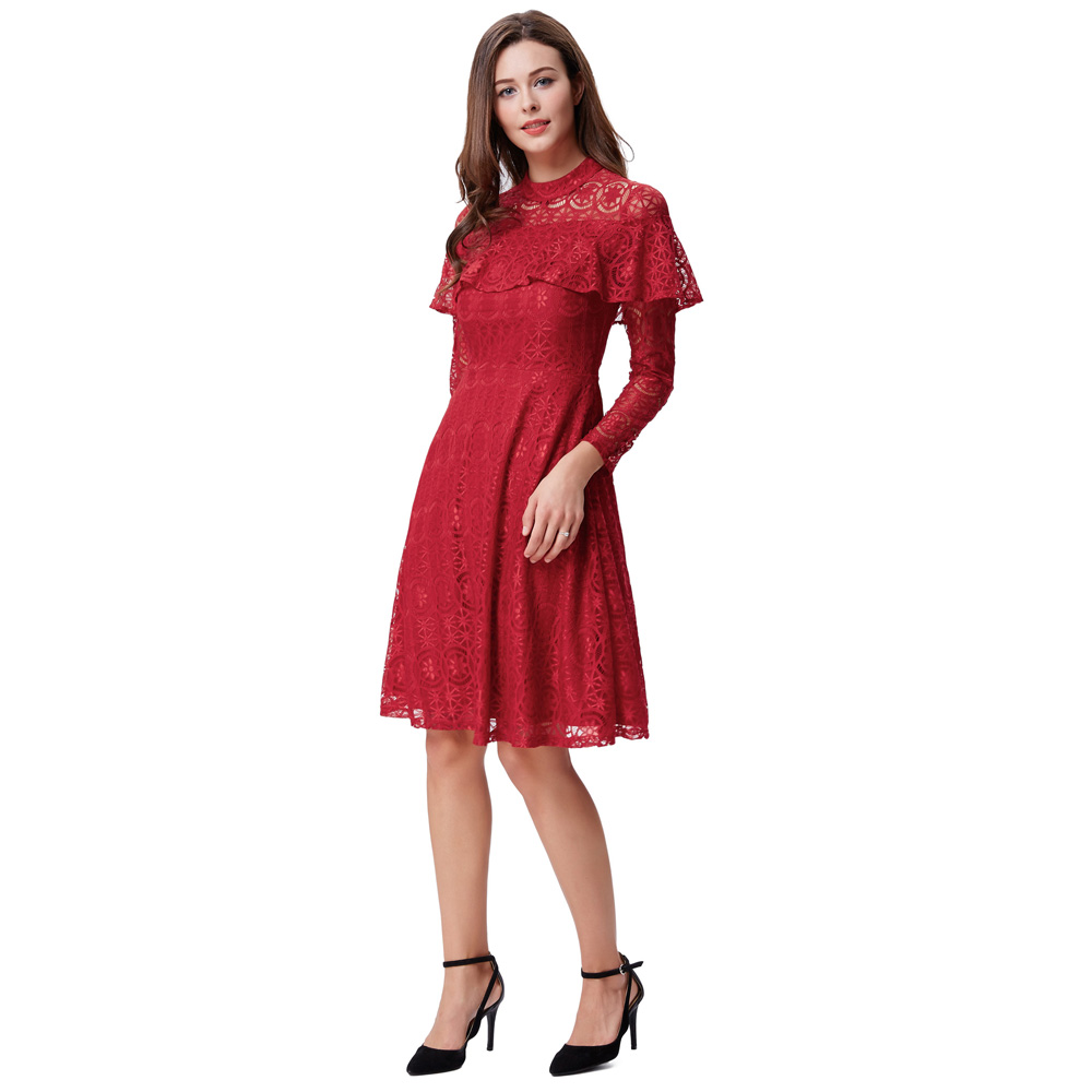 Kate kasin red lace cocktail dresses long sleeve cheap short party kate kasin red lace cocktail dresses long sleeve cheap short party dresses knee length women formal gowns vestido de coctel in cocktail dresses from ombrellifo Image collections