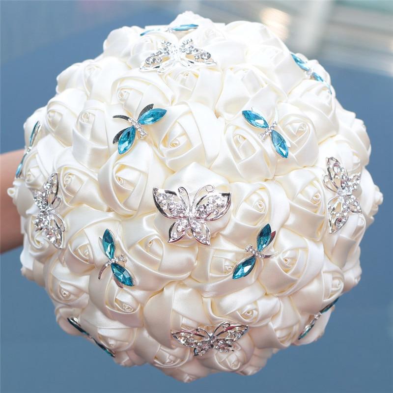 Elegant Ivory Cream Rose Butterfly Blue Crystal Diamond Stitch Wedding Bouquet Bridal Mariage Brooch Wedding Flower W2217 Custom
