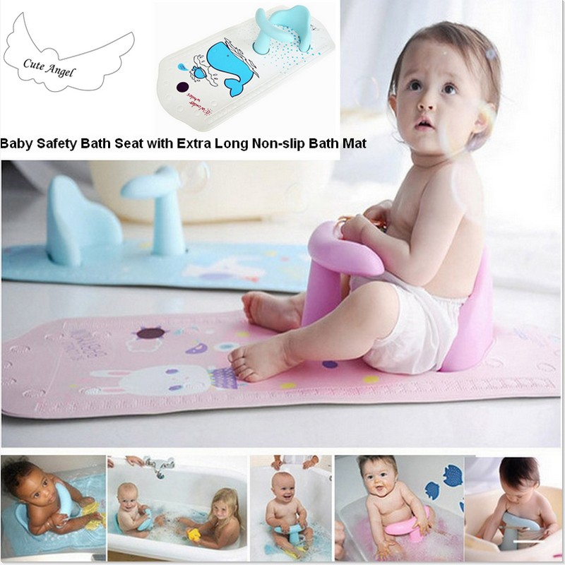2017 New arrival Baby Safety Bath Seat with Extra Long Non-slip Bath Mat Free shipping