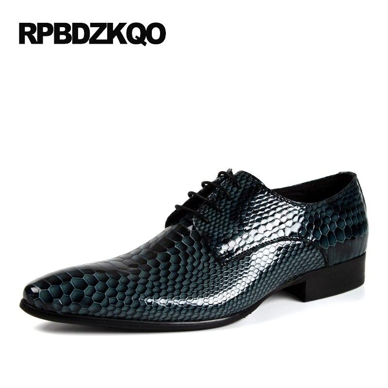Настоящая кожа черный Остроконечные змея Италия Мужские синие платье туфли Кожа Python плоские лакированная мода 2017