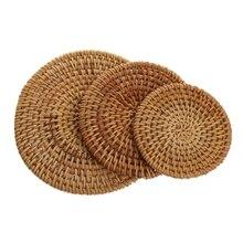 8/10/13cm Table Mat Handmade Rattan Heat Resistant Placemat Coasters Tea Coffee Drinks Pot Pad Kitchen Accessories