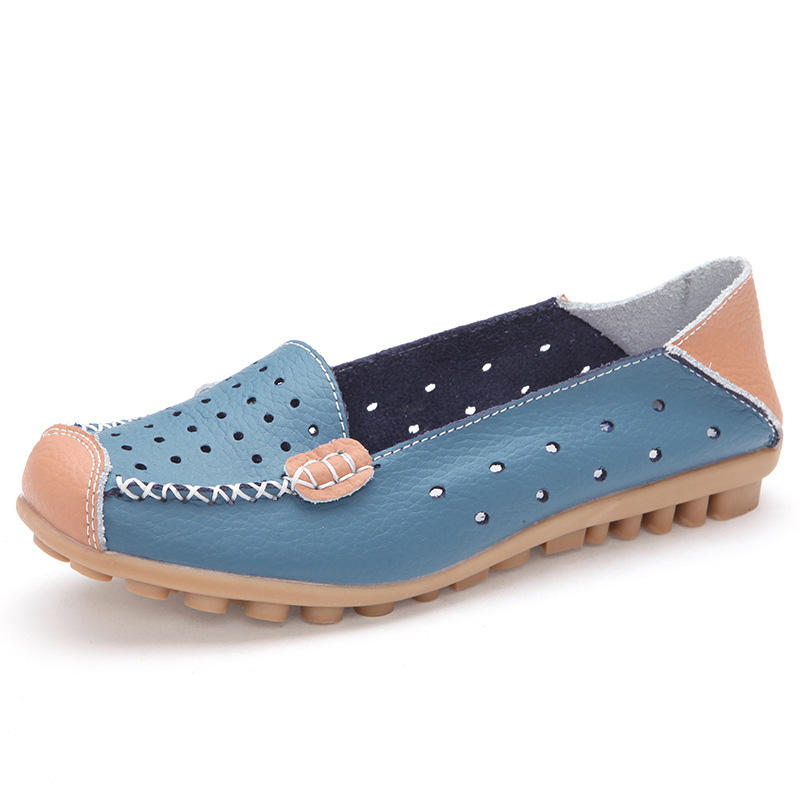Women's Shoes Genuine Leather Summer Flats Women Slip-on Breathable Casual Shoes Cut-Outs Spring Summer Loafers For Lady WSH1118