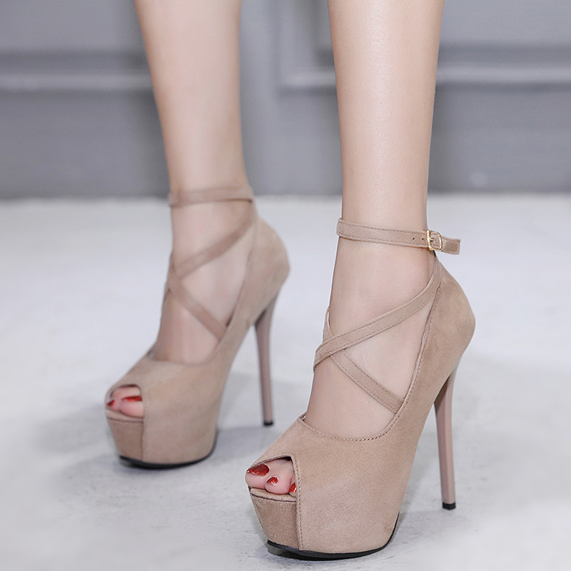 Women small size Pumps high heels sexy Peep toe Fish mouth 14cm heel Party Pumps woman summer Cross-tied Stiletto platform shoes