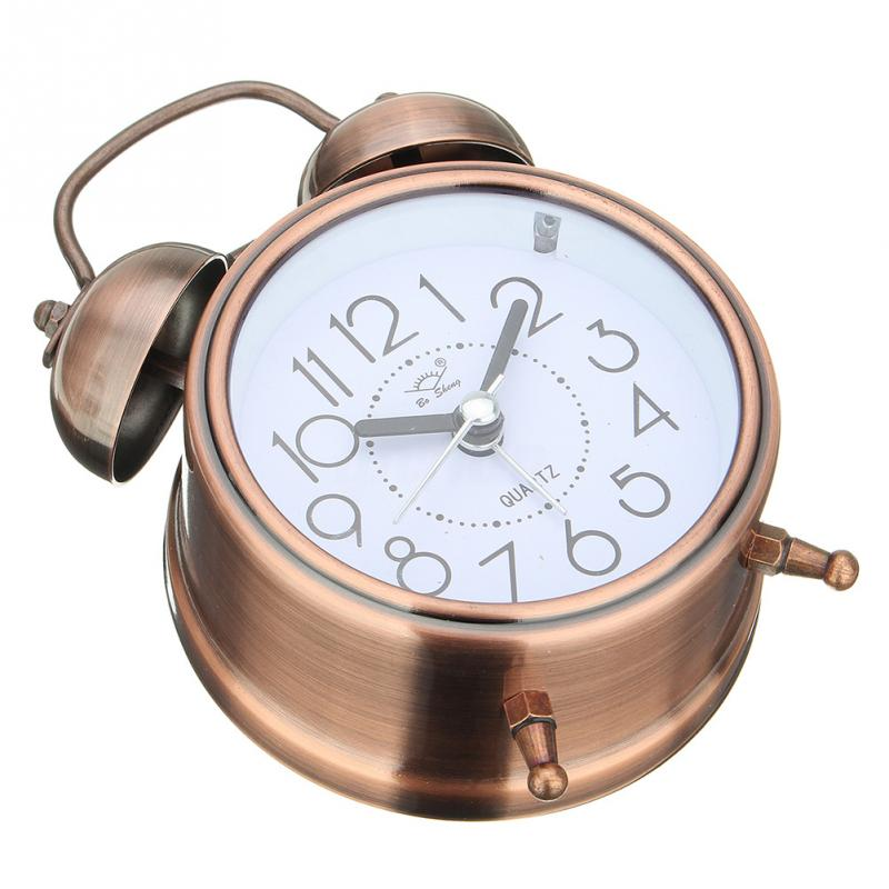 Alarm Clock Vintage Retro Silent Pointer Clocks Round Number Dual Bell Loud Alarm Clock Bedside Night Light Home Decors