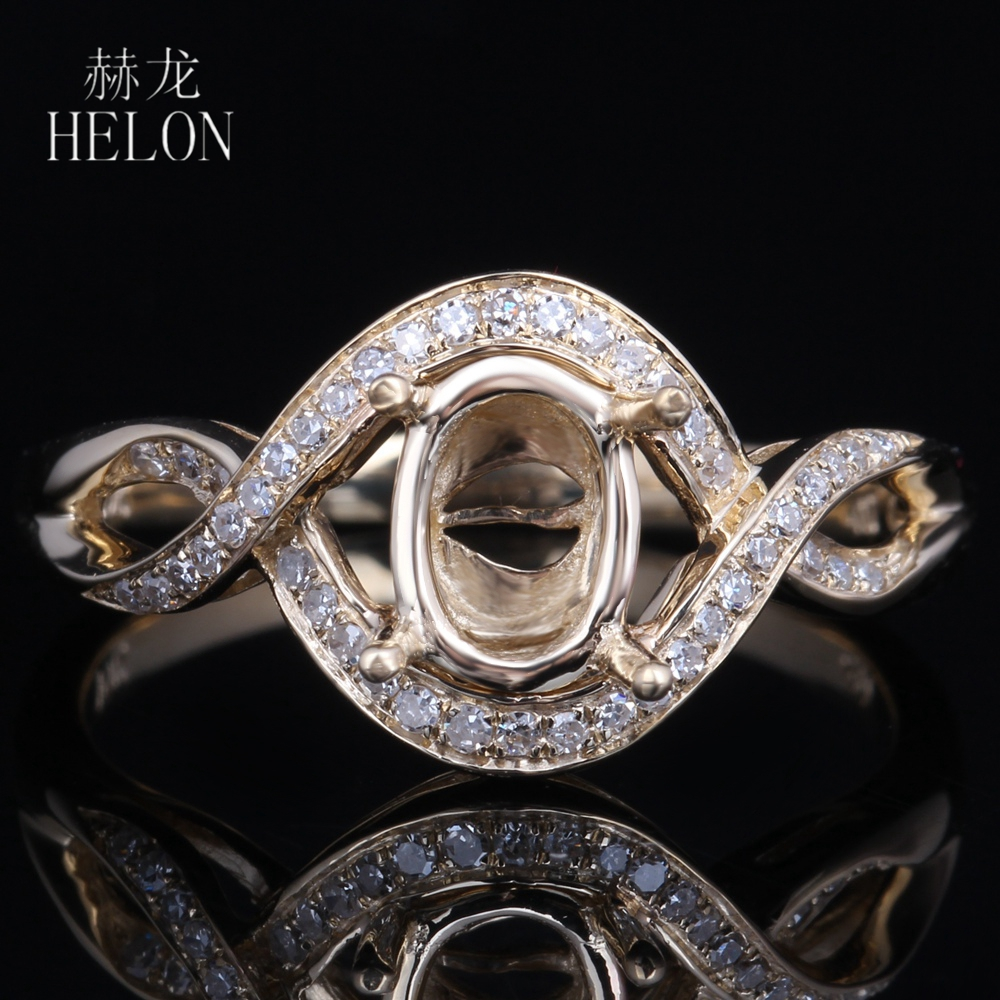 HELON Solid 14k White Gold Elegant Fashion Jewelry 5x7mm OVAL Cut Pave Natural Diamonds Engagement Wedding Semi Mount Fine Ring цена