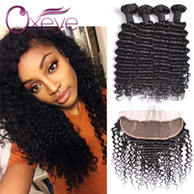 13×4 Ear To Ear Lace Frontal Closure With Bundles Peruvian Deep Wave With Closure 7A Peruvian Virgin Hair With Frontal Closure