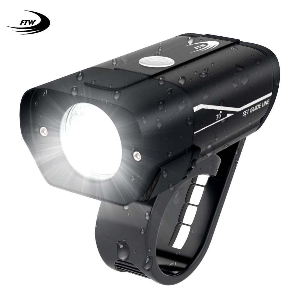 FTW Bicycle Front Light Lamps 350 Lumens USB Rechargeable Aluminum Alloy MTB Road Bike Light LED Handlebar Rainproof Lantern
