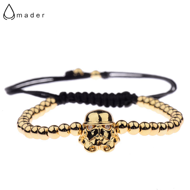 Amader Warrior Gold Rope Bracelet Men Zircon Pave Bead Rope Braided Women Luxury Extended Elegant Bracelets AB1217