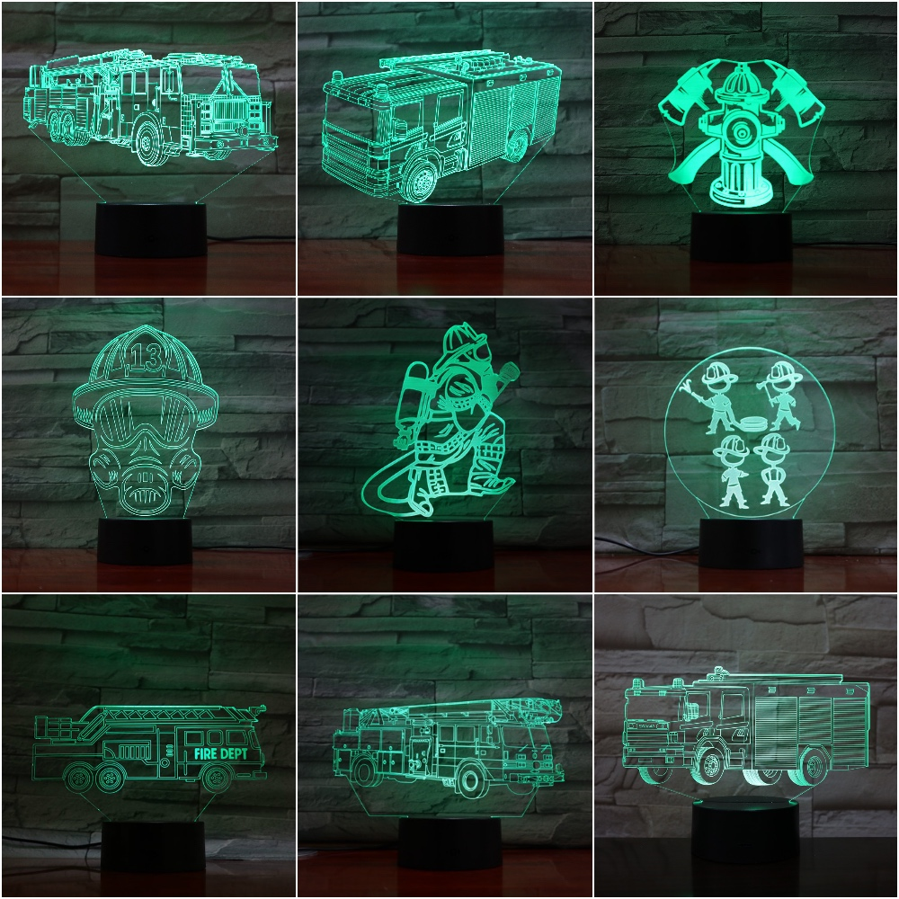 3d Led Night Light Lamp Firemen Figure Office Room Decoration Friends Birthday Gift Nightlight Fire Truck 3d Lamp Firefighter