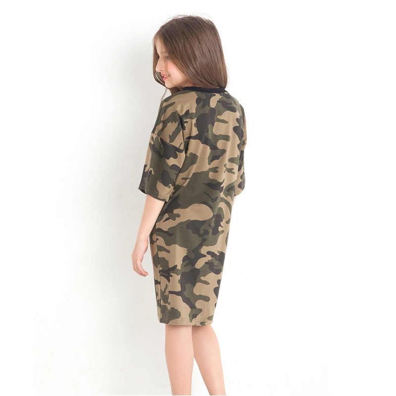 Camouflage สาววัยรุ่นยุโรปสไตล์สั้นฤดูร้อนชุดเสื้อผ้าเด็กแฟชั่นยิงจริงสำหรับ 6 8 10 12 14 ปี