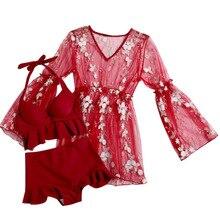 цена Bikini 2019 Split Bathing Suit Women Push Up Bikini Set Swimsuit Swimwear High Waisted Beachwear Biquini Lace Cover Up
