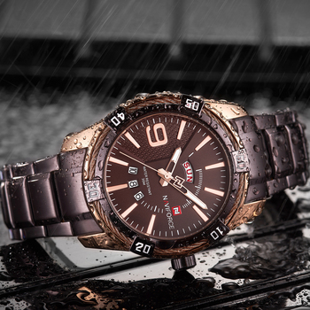 NAVIFORCE Men's Luxury Stainless Steel Calendar Date Display Waterproof Quartz Watches 4