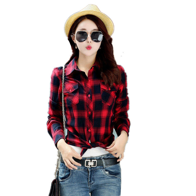 8d3584daaf4 Spring and Autumn long sleeve Cotton checkered shirts Blouse British Womens  Casual Red and Balck Plaid Shirt Clothes for Female