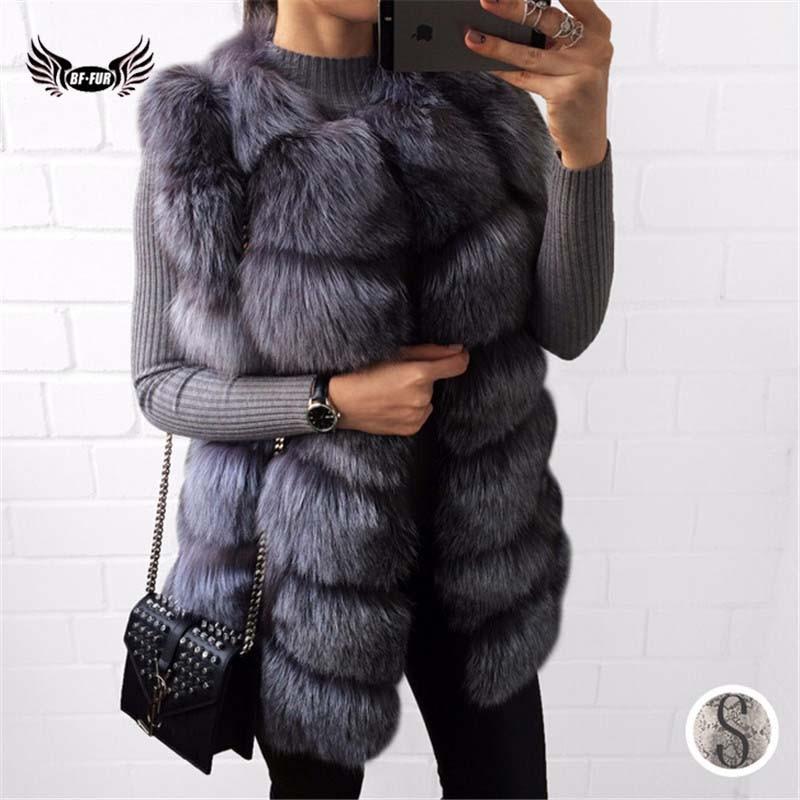 BFFUR Real Fur Vest Coat Luxury Women Winter Fashion Style Natural Female Silver Fox Fur Vest Top Quality Real Fur Coat Slim