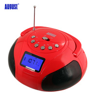 August SE20 Portable Alarm Clock Radio Bluetooth Speaker MP3 Stereo System With Card Reader USB And