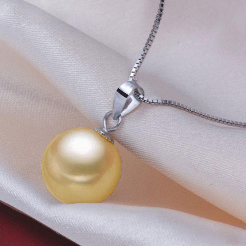 Livraison Gratuite>>>>> AAA ronde 10-11mm Australian mer du sud or perle pendentif collier 18 pouces