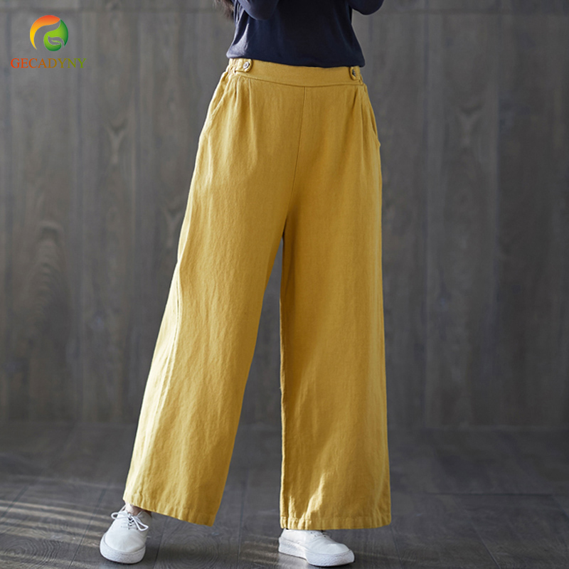 Chinese Women Solid Buttons   Wide     Leg     Pants   Loose Cotton Linen Ankle-Length Trousers 2019 Spring Elastic Waist   Pants   Female