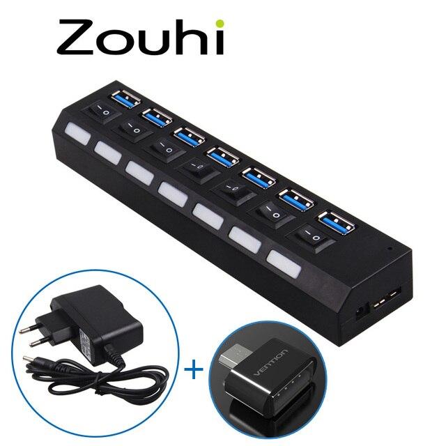 De alta Velocidad de 7 PUERTOS USB 3.0 HUB de 5 Gbps Con Encendido/Apagado interruptor de Adaptador de Cable Para PC Portátil Notebook UE, OTG Hub Con Luz LED