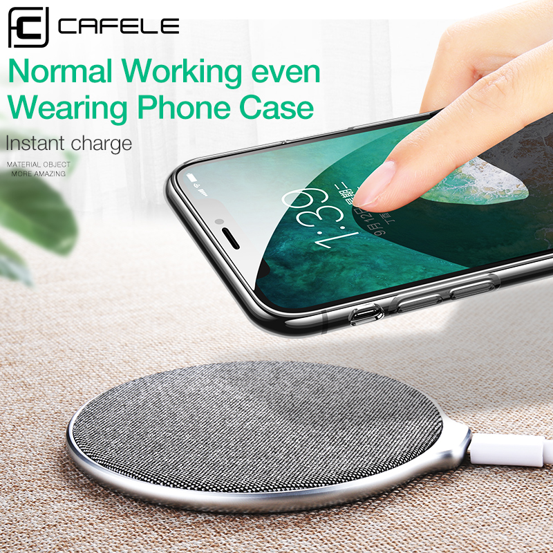 Cafele Wireless Charger 10W for iPhone X 8 Plus Qi Fast Wireless Charging Pad with Anti-Slip Fabric for iPhone X 8 Plus